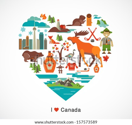 Canada love - heart with many icons and illustrations - stock vector