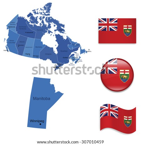 Canada-Manitoba-Map and Flag Collection - stock vector