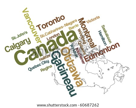 Canada map and words cloud with larger cities - stock vector