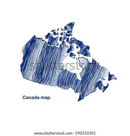 Canada map hand drawn background vector,illustration - stock vector