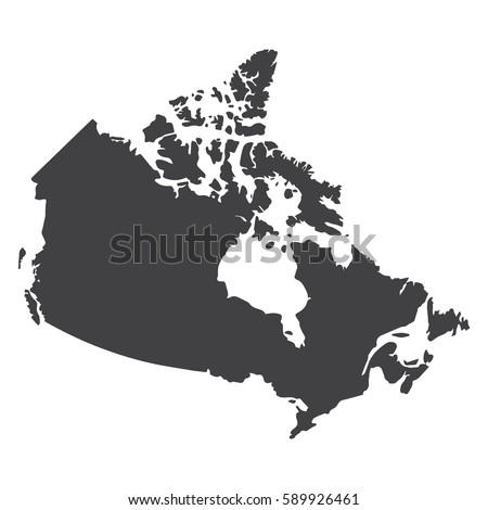Blank Gray Similar Canada Map Isolated Stock Vector - Us canada map vector