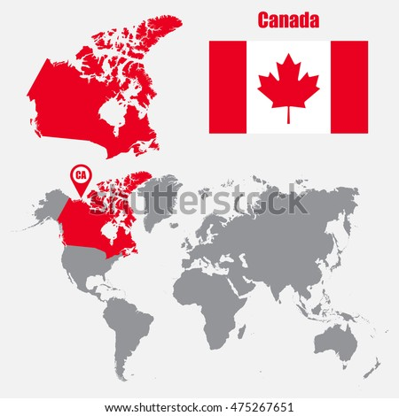Canada map 3d stock images royalty free images vectors canada map on a world map with flag and map pointer vector illustration gumiabroncs