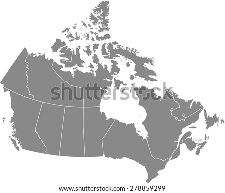 Canada map outlines, vector map of Canada with boundaries/ polygons or borders of counties or states or provinces in grey color background - stock vector