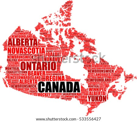 Canada Map Silhouette Tag Cloud Vector Stock Vector 533556427