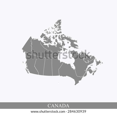 Canada map vector, Canada map outlines in contrasted grey background - stock vector