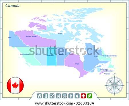 Canada Map with Flag Buttons and Assistance & Activates Icons Original Illustration - stock vector