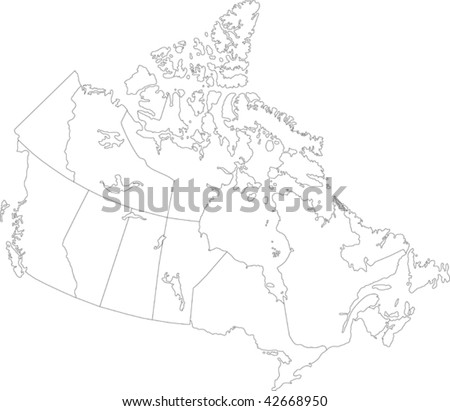 Canada map with province borders - stock vector