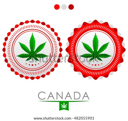Canada marijuana emblem - vector cannabis seal of approval with the colors of the flag of Canada