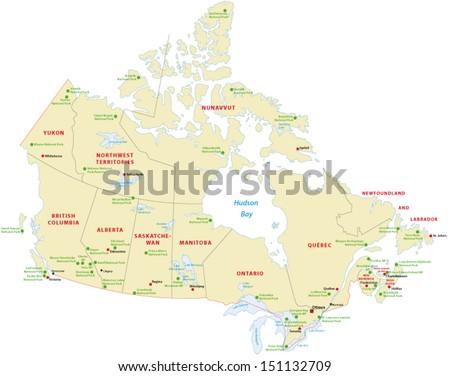 canada national park map - stock vector
