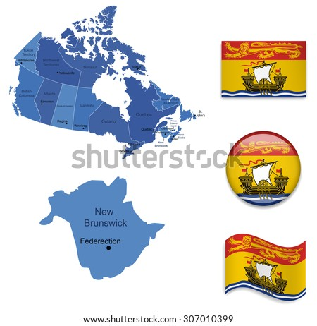 Canada-New Brunswick-Map and Flag Collection - stock vector