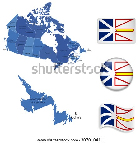 Canada-Newfoundland-Map and Flag Collection - stock vector