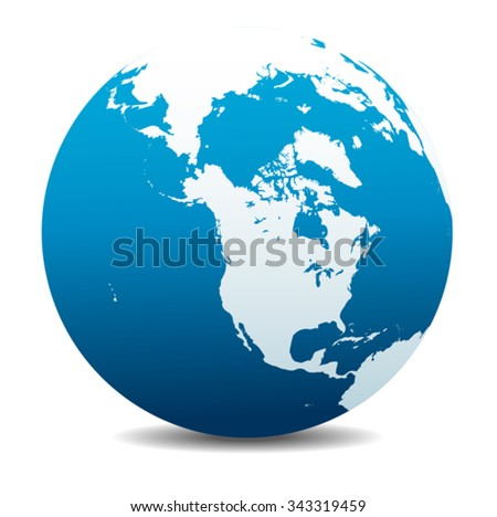 Canada, North America, Siberia and Japan Global World - stock vector