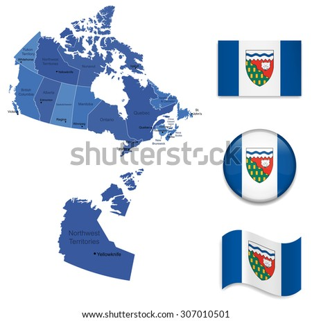 Canada-Nortwest Territories-Map and Flag Collection - stock vector