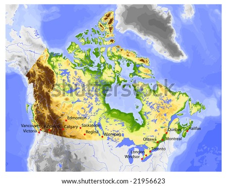 Canada physical vector map colored according stock vector 21956623 physical vector map colored according to elevation with rivers and selected cities gumiabroncs Choice Image