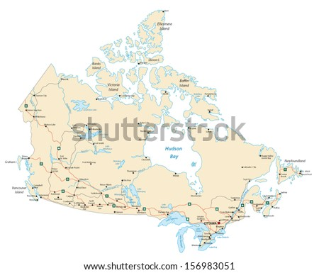 canada road map - stock vector