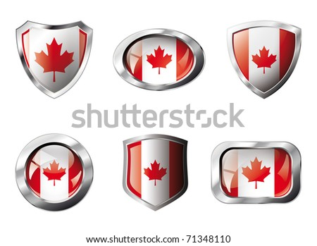 Canada set shiny buttons and shields of flag with metal frame - vector illustration. Isolated abstract object against white background. - stock vector