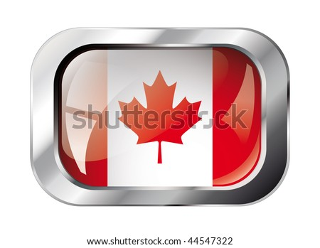 canada shiny button flag vector illustration. Isolated abstract object against white background. - stock vector