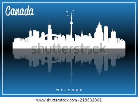 Canada, skyline silhouette vector design on parliament blue background. - stock vector