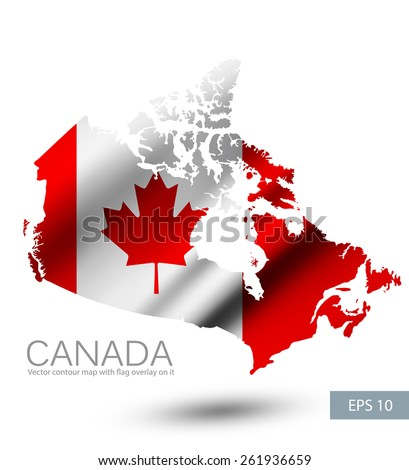 Canada vector contour map with Canada waving flag. Vector illustration EPS 10. - stock vector