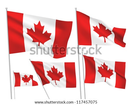 Canada vector flags. A set of 5 wavy 3D flags created using gradient meshes. - stock vector