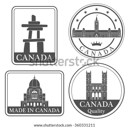 Canada. Vector. Silhouette. Icon. Sign. Set