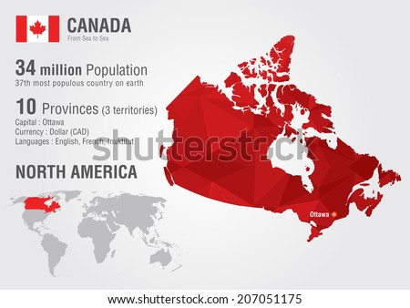 Canada World Map Pixel Diamond Texture Stock Vector - Canada in the world map