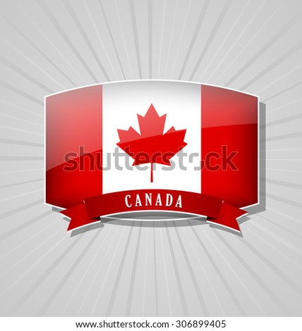 Canadian bulged badge or icon with ribbon on grey background - stock vector