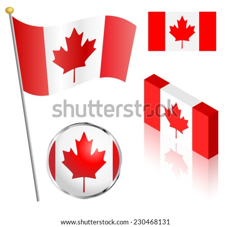 Canadian flag on a pole, badge and isometric designs vector illustration.  - stock vector