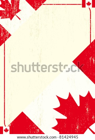 Canadian grunge flag. A background with a canadian flag and a texture. - stock vector