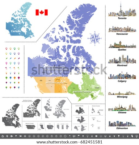 Map Provinces Territories Canada Largest Cities Stock Vector