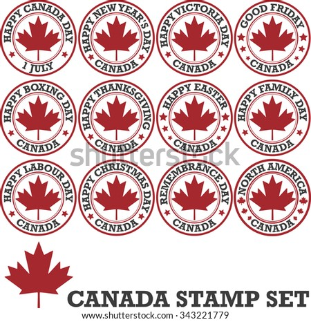 Canadian stamp set - stock vector