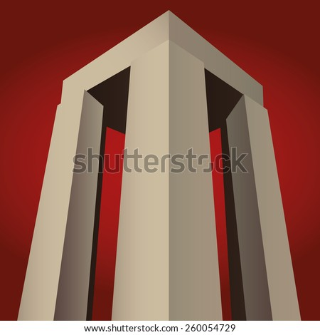 Canakkale Martyrs' Memorial, Turkey for battle of Gallipoli vector, red background - stock vector