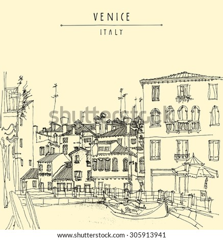 Canareggio, Venice, Italy, Europe. Gondola, canal, facades. Touristic city view. Vector artistic freehand illustration. Vintage poster, postcard or coloring book page with Venice, Italy hand lettering