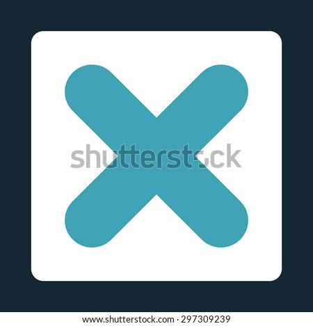 Cancel icon from Primitive Buttons OverColor Set. This rounded square flat button is drawn with blue and white colors on a dark blue background. - stock vector