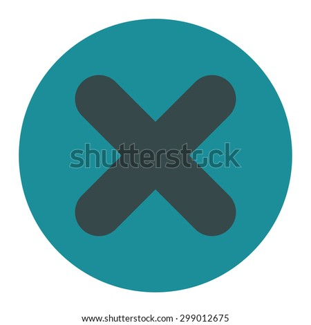Cancel icon from Primitive Round Buttons OverColor Set. This round flat button is drawn with soft blue colors on a white background. - stock vector