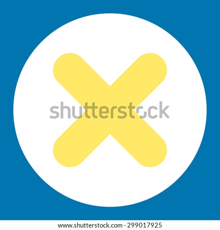 Cancel icon from Primitive Round Buttons OverColor Set. This round flat button is drawn with yellow and white colors on a blue background. - stock vector