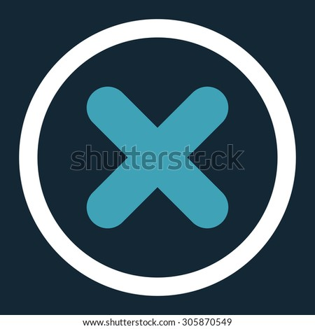 Cancel vector icon. This rounded flat symbol is drawn with blue and white colors on a dark blue background. - stock vector
