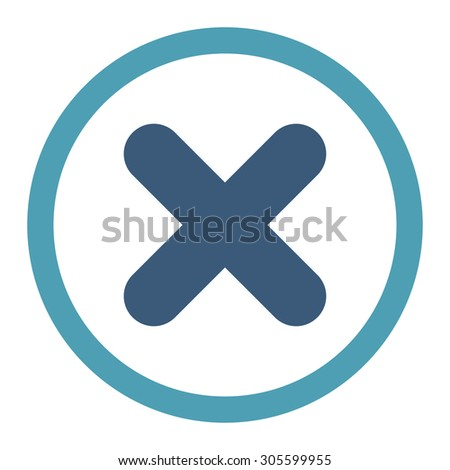 Cancel vector icon. This rounded flat symbol is drawn with cyan and blue colors on a white background. - stock vector