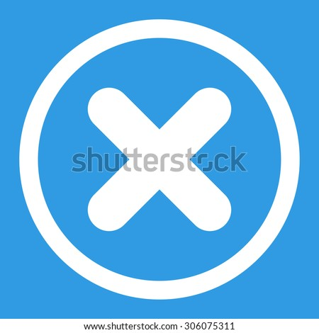 Cancel vector icon. This rounded flat symbol is drawn with white color on a blue background. - stock vector