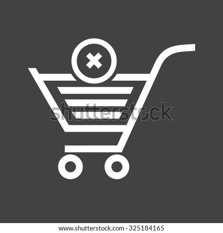 Cancelled, crossed, cart, trolley icon vector image. Can also be used for eCommerce, shopping, business. Suitable for use on web apps, mobile apps and print media. - stock vector