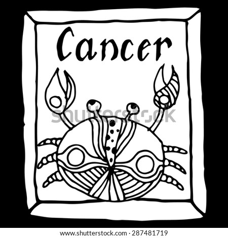 Cancer horoscope sign vectorized hand draw - stock vector