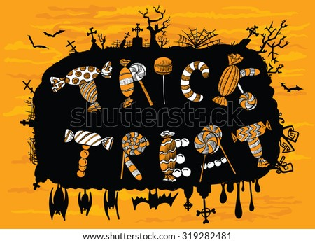 Candies cute Halloween background (trick or treat lettering) - stock vector