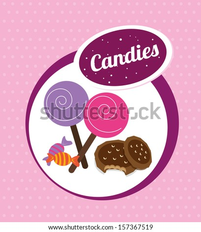 candies design over pink background vector illustration  - stock vector