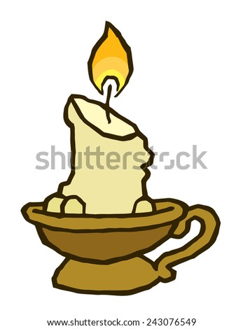 candle in old antique candlestick - vector drawing