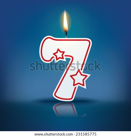 Candle number 7 with flame - eps 10 vector illustration - stock vector
