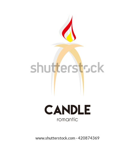 Candle romantic light abstract vector logo design template - stock vector