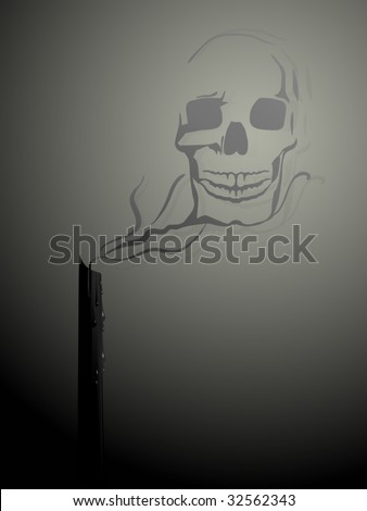 Candle with a vector swirl of smoke forming a skull - stock vector