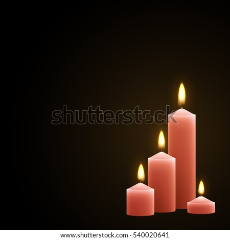 Candles burn with fire realistic. Set isolated on transparent background. Element for design decor, vector illustration