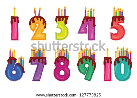 Candles, colorful numeral candles, isolated on white background