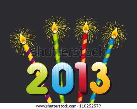 candles, happy new year 2013. vector illustration